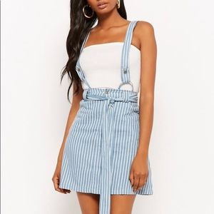 Pinstriped Suspender Skirt
